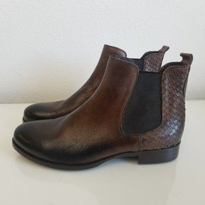 Ron White Brown Leather and Python Brow Boots 39